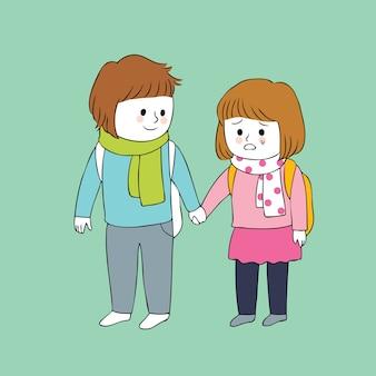 Cartoon cute boy and girl crying vector.