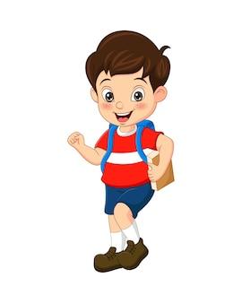 Мультяшный милый мальчик идет в школу с рюкзаком