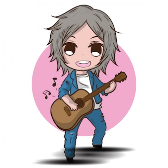 Cartoon cute boy is playing the guitar. musical performance.