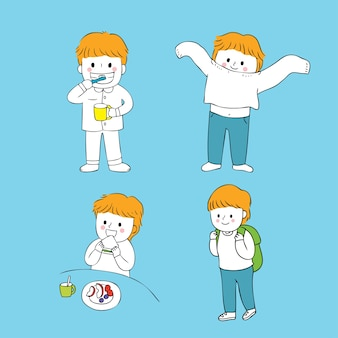 Cartoon cute boy in morning vector.