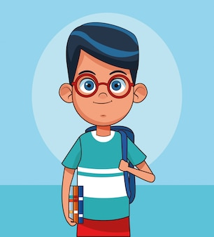 Cartoon cute boy standing with school backpack and books