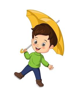 노란 우산을 가진 만화 귀여운 소년