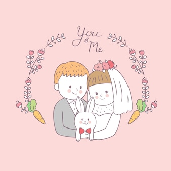 Cartoon cute bride hug groom and rabbit vector.