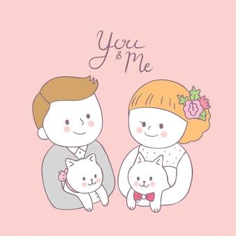 Cartoon cute bride hug groom and rabbit vector.