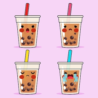 Cartoon cute bubble tea or pearl tea emoticon avatar face negative emotions set