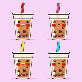 Cartoon cute bubble tea or pearl tea emoticon avatar face positive emotions set