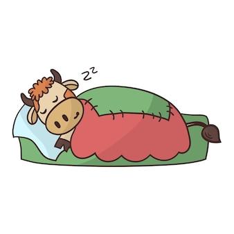 Мультяшный милый бык сладко спит в постели под теплым одеялом.