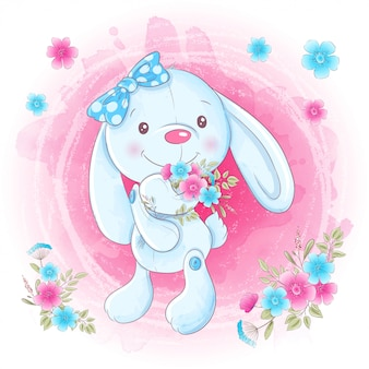 Cartoon cute bunny girl with flowers.