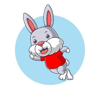 만화 귀여운 토끼 점프