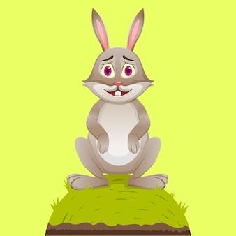 漫画のかわいいウサギのマスコットは草のロールに座っています