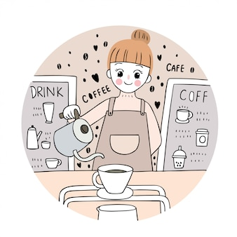 Cartoon cute cafe, woman and coffee