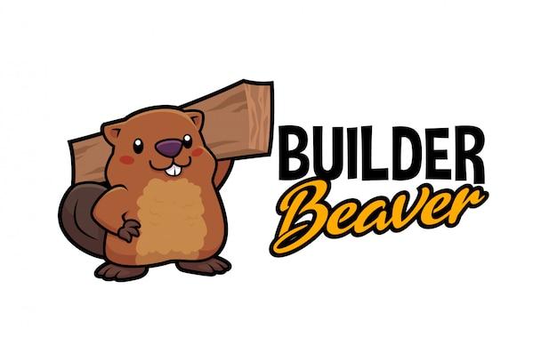 Cartoon cute carpenter builder beaver character mascot logo