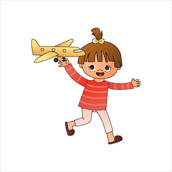 Cartoon of cute cartoon girl play a toy on white background.