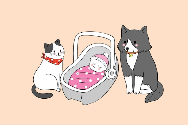 Мультфильм милый кот и собака и ребенок вектор.