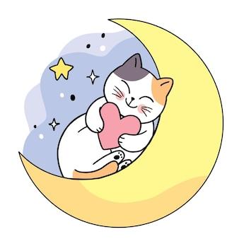 Мультяшный милый кот и сердце на луне в ночном векторе