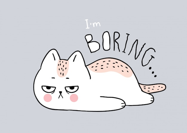 Cartoon cute cat boring vector.