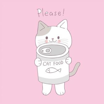 Cartoon cute cat and can food vector.