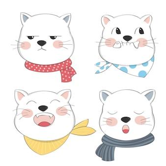 漫画のかわいい猫のキャラクターセット