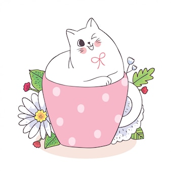 Cartoon cute cat in coffee cup and flower