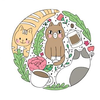 Cartoon cute cat and coffee vector.