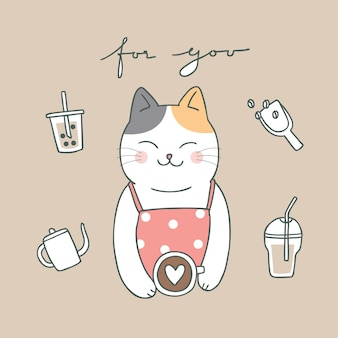 Cartoon cute cat and coffee
