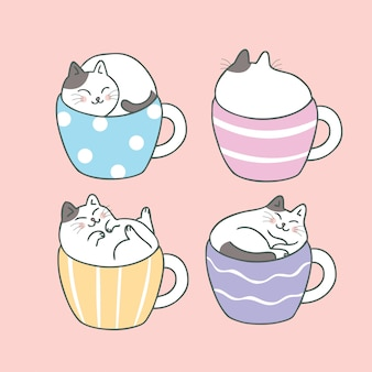 Cartoon cute cat and cup coffee