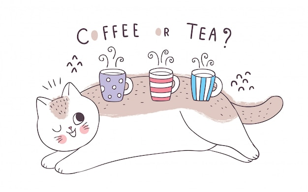 Cartoon cute cat and cups coffee and tea