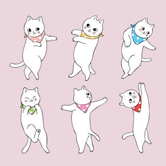 Cartoon cute cat dancing set collection.