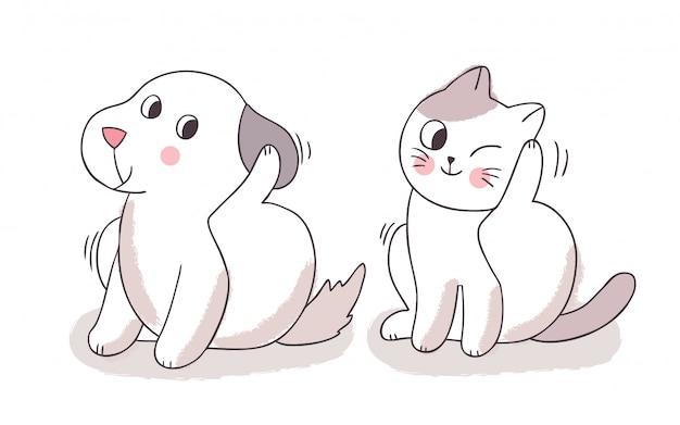 Cartoon cute cat and dog scratching