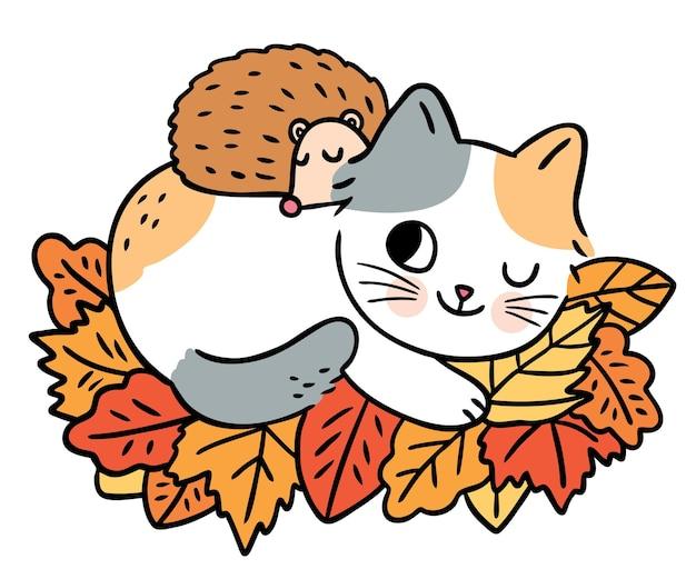 Cartoon cute cat and hedgehog sleep on the leaves vector