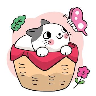 Мультяшный милый кот в корзине и вектор бабочки