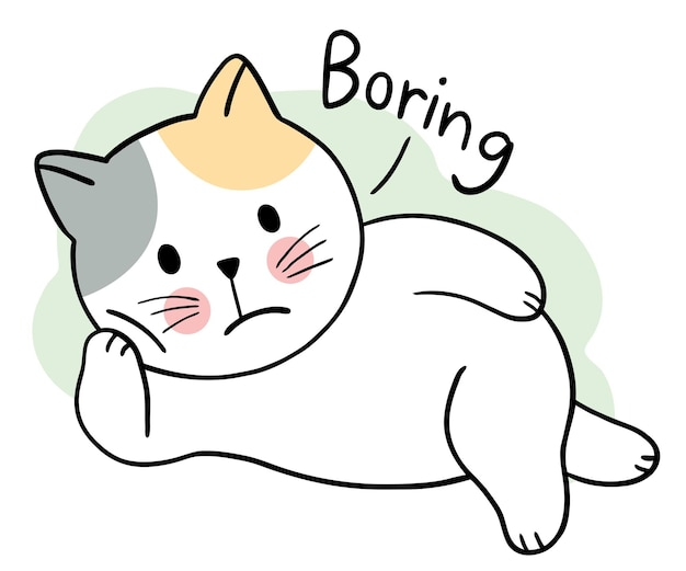 Мультфильм милый кот скучно день вектор