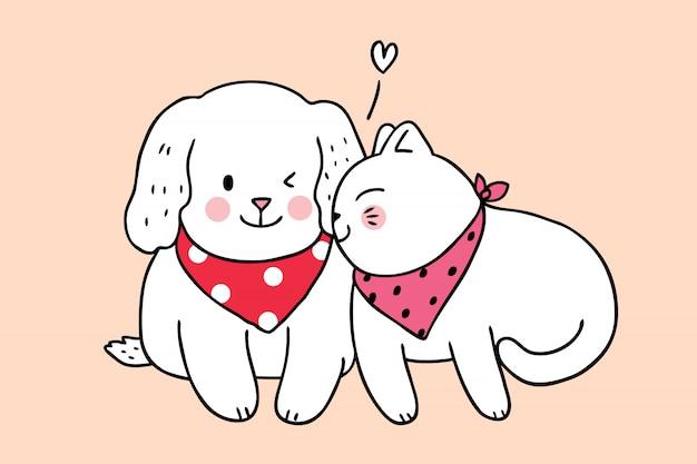 Cartoon cute cat kissing dog