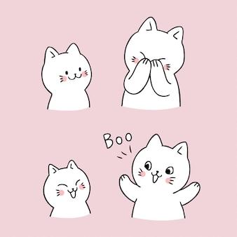 만화 귀여운 고양이 부 벡터를 엿봄.