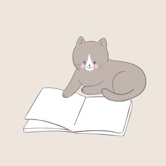 Cartoon cute cat reading book vector.