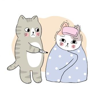 아픈 만화 귀여운 고양이