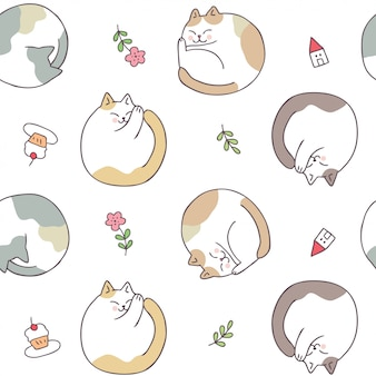 Cartoon cute cat sleeping seamless pattern vector.