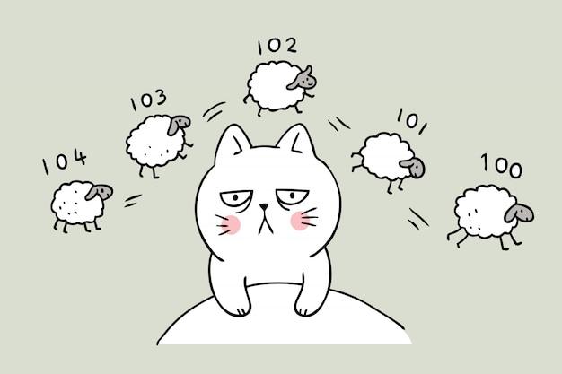 Cartoon cute cat sleepless