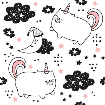 Cartoon cute cat unicorn seamless pattern