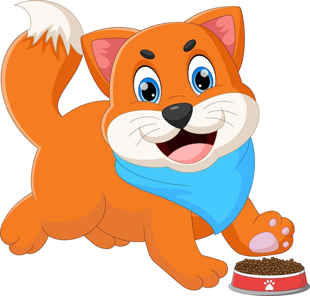 Cartoon cute cat with food on white background