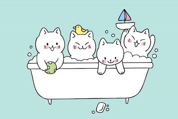 Cartoon cute cats bath vector.