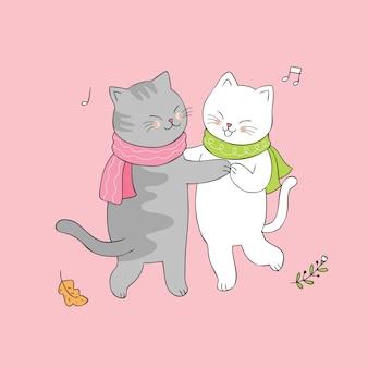 Cartoon cute cats dancing vector.