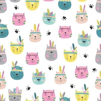 만화 귀여운 고양이 얼굴 패턴 스칸디나비아 스타일.