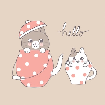 Cartoon cute cats and teapot and cup.