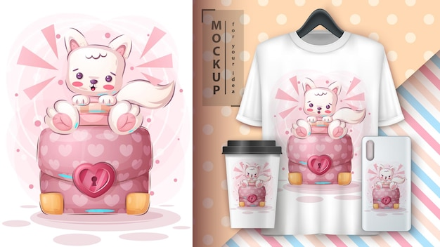 Cartoon cute character animal cat with diplomat poster and merchandising vector eps 10