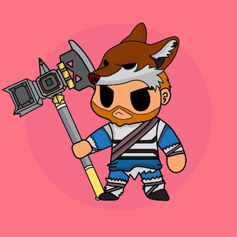 Cartoon cute chibi character knight in fox outfit and hammer