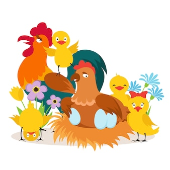 Cartoon cute chicken family with babies  illustration