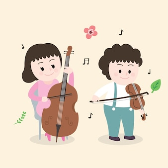 Cartoon cute children are playing music vector.