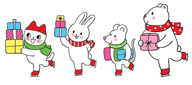 漫画かわいいクリスマスと新年の動物とプレゼントのベクトル