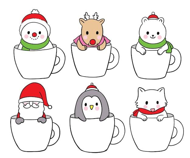 コーヒーカップのベクトルでかわいいクリスマスと新年の動物を漫画
